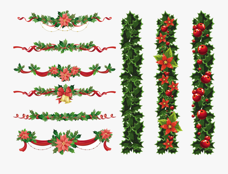 Christmas Border Free Clipart For Mac Collection Transparent - Christmas Garland Free Vector, Transparent Clipart