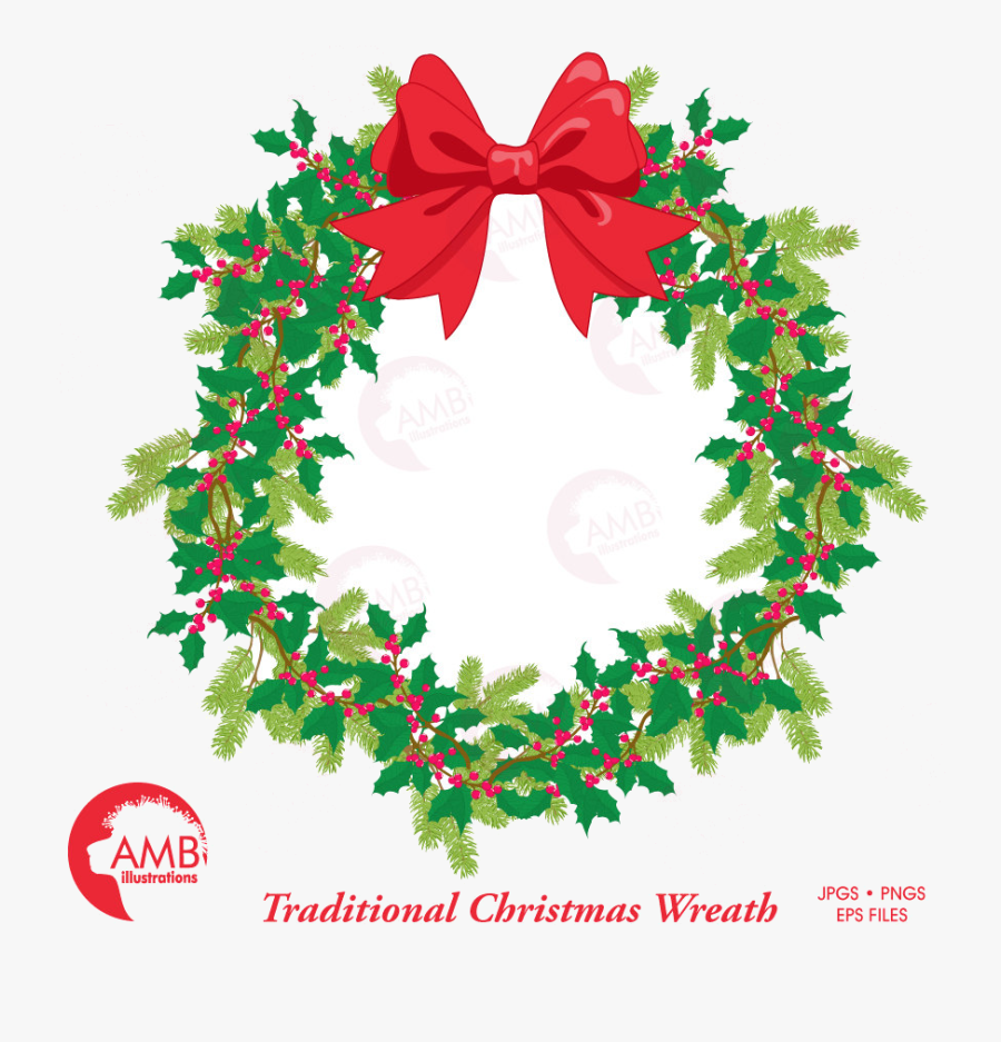 Holiday Christmas Wreath Traditional Clipart Base Transparent - Christmas Day, Transparent Clipart
