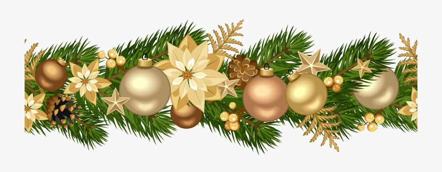 Christmas Decorative Golden Garland Png Clip Art Image - Gold Christmas Clipart Png, Transparent Clipart