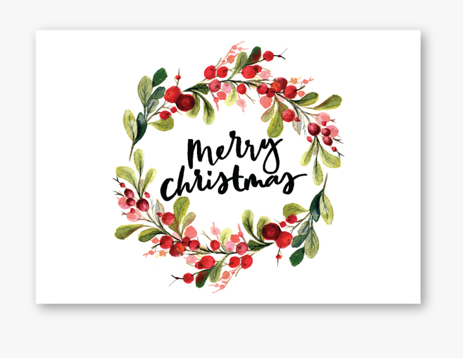 Merry Christmas Watercolor Card, Transparent Clipart