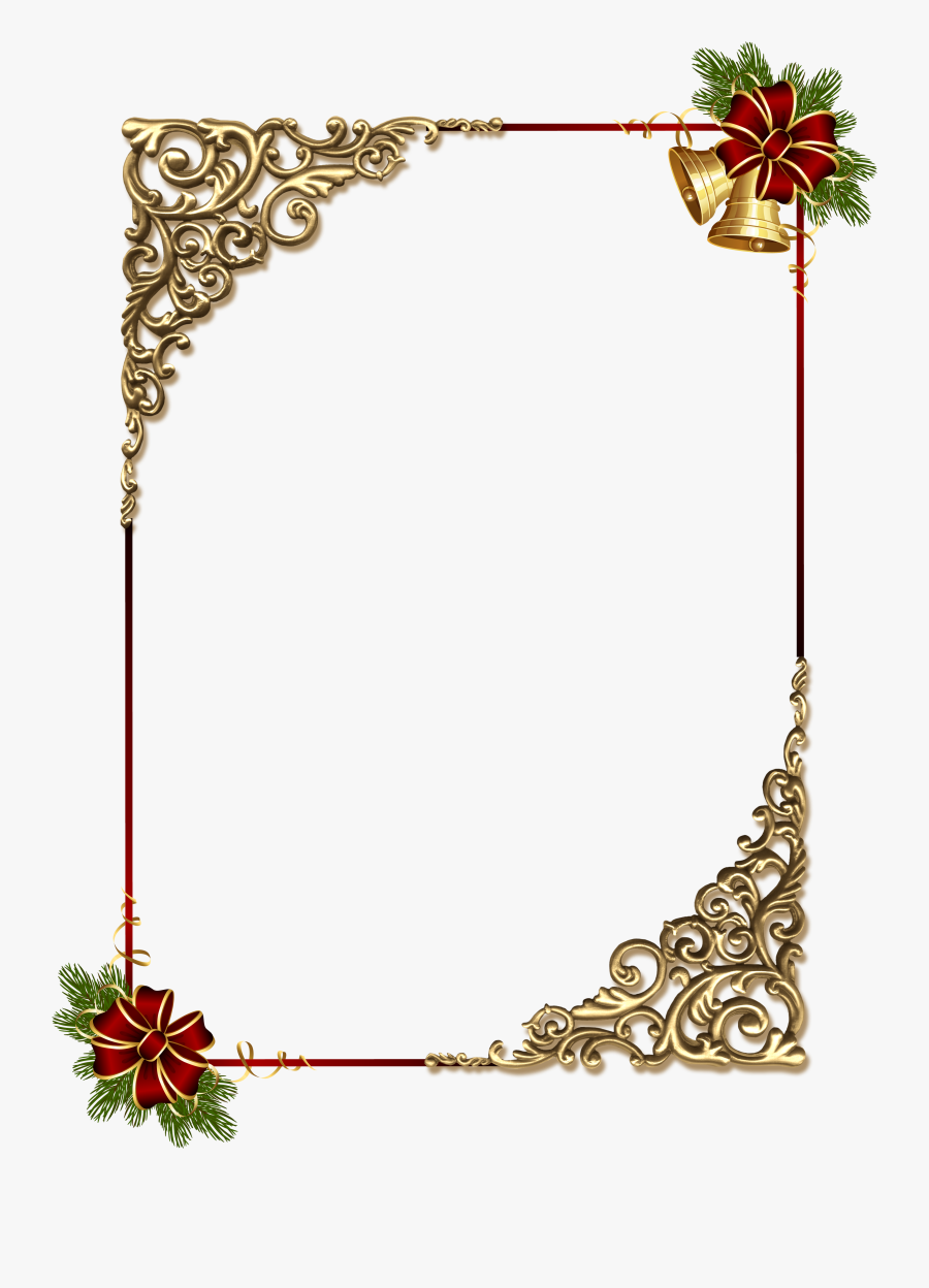Red Ribbon Border Clipart - Gold Christmas Border Designs, Transparent Clipart
