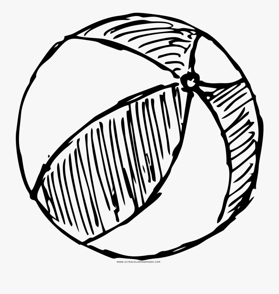 Printable Beach Ball Coloring Sheet Of A Basketball - Beach Ball Drawing Png, Transparent Clipart