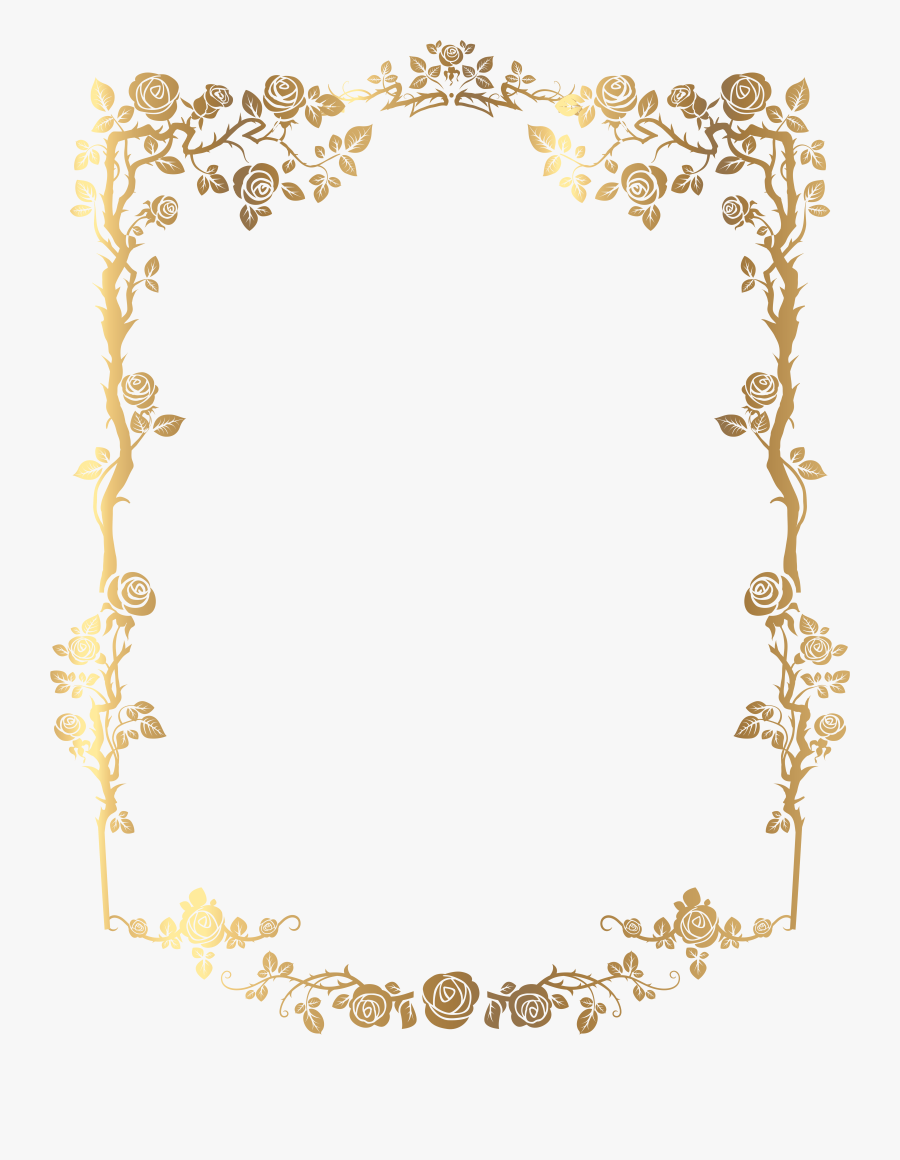 Picture Golden Frame French Rectangular Floral Border - Vintage Gold Border Png, Transparent Clipart