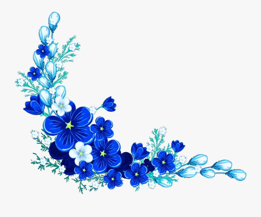 Digital Flower Frame Blue Flower Border - Blue Flower Border Design, Transparent Clipart
