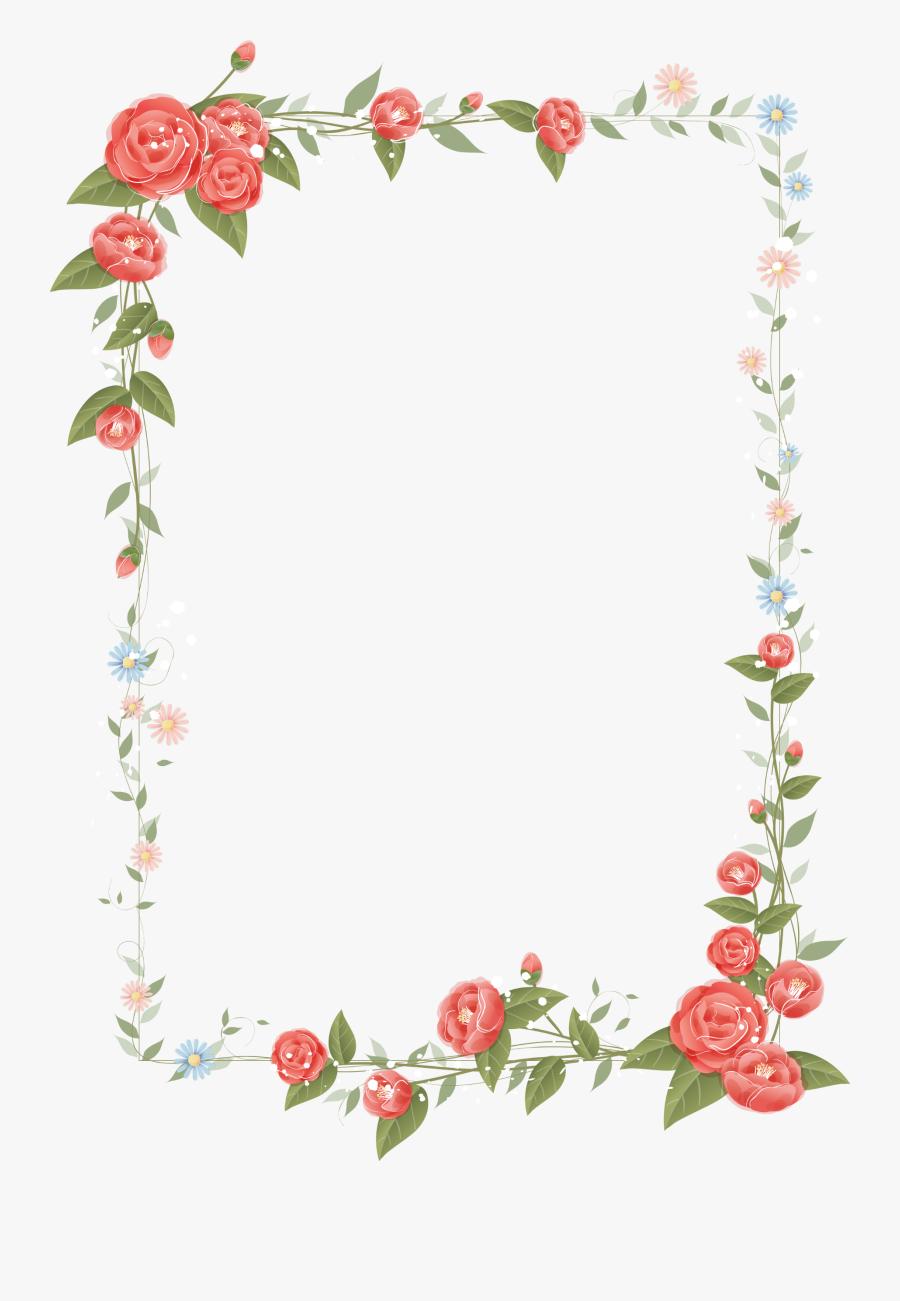 Rose Frame Design Floral Flowers Border Clipart - Floral Border Design Png, Transparent Clipart
