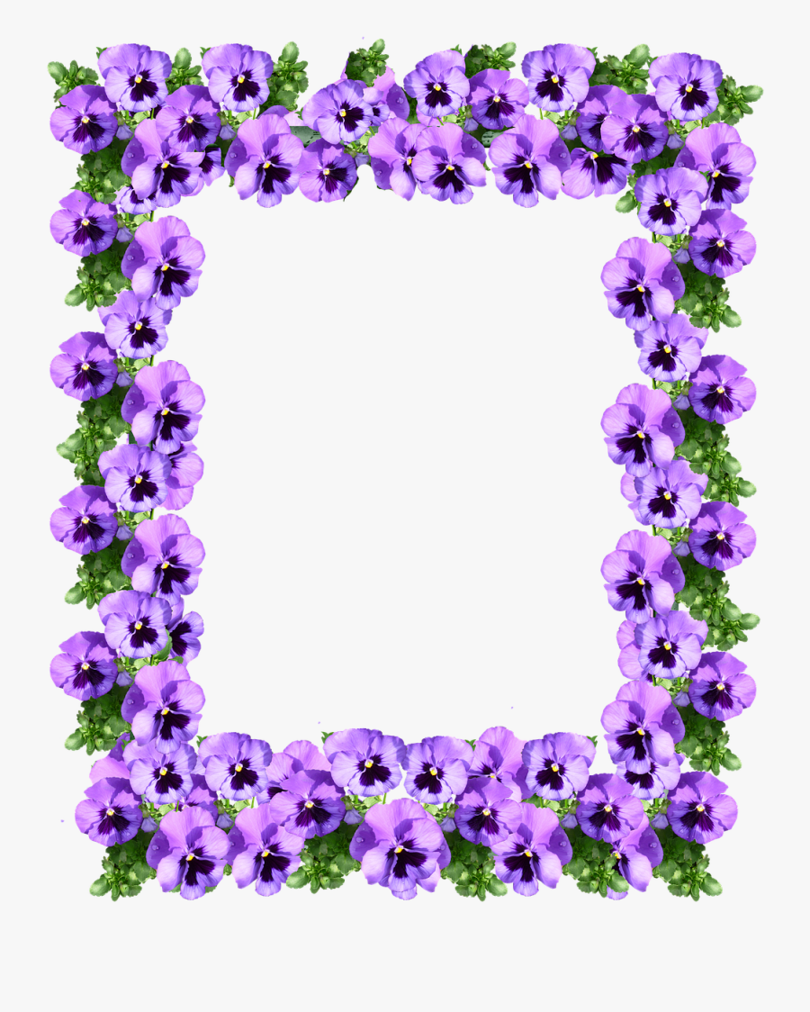 Purple Flower Border 9, Buy Clip Art - Purple Floral Border Design, Transparent Clipart