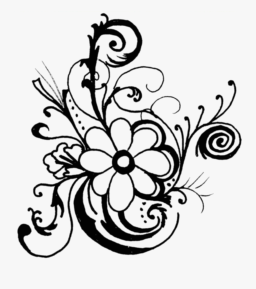Black And White Flower Border Clipart - Black And White Flower Clipart Png, Transparent Clipart