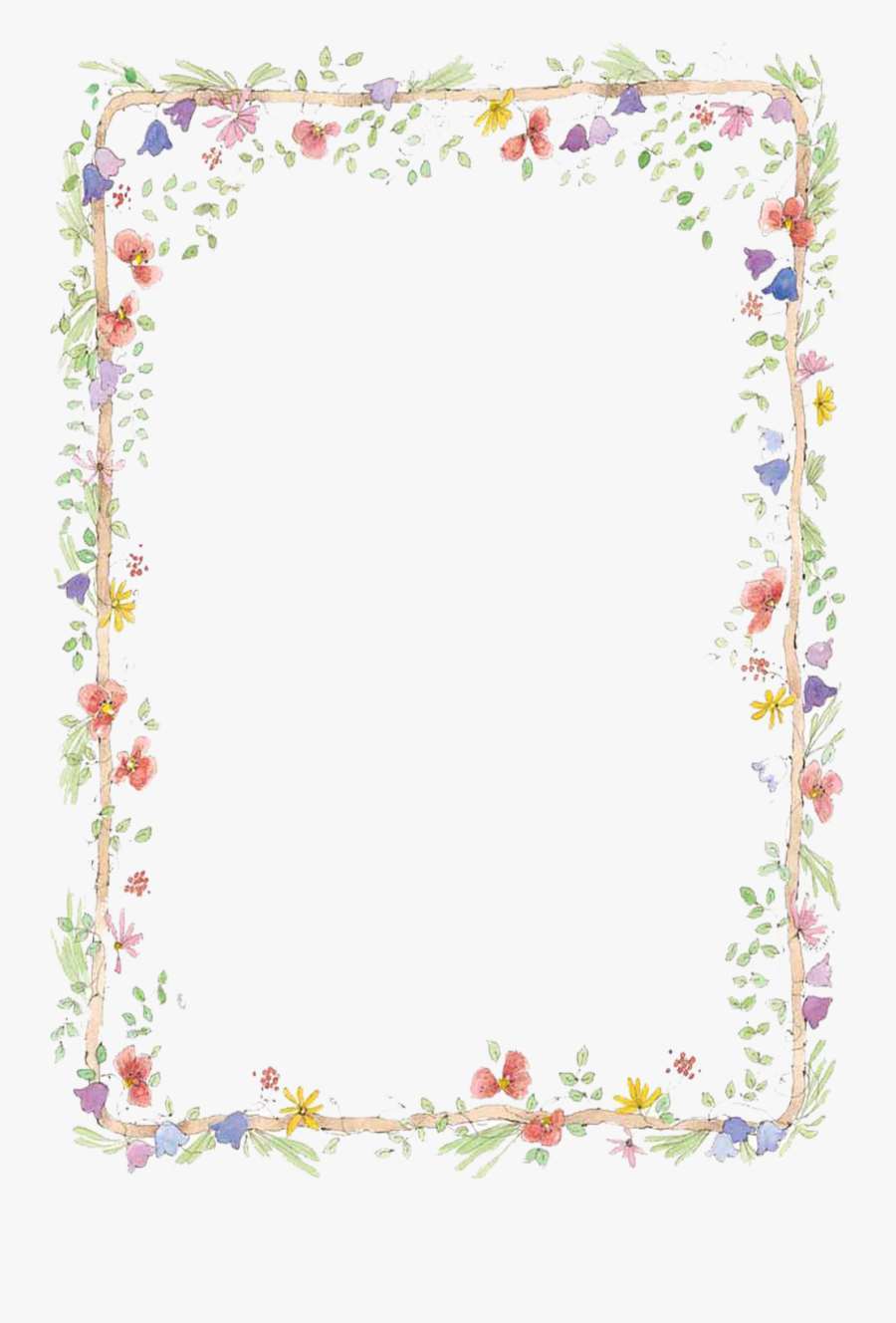 Flowers Borders Download Png - Flower Frame Png, Transparent Clipart