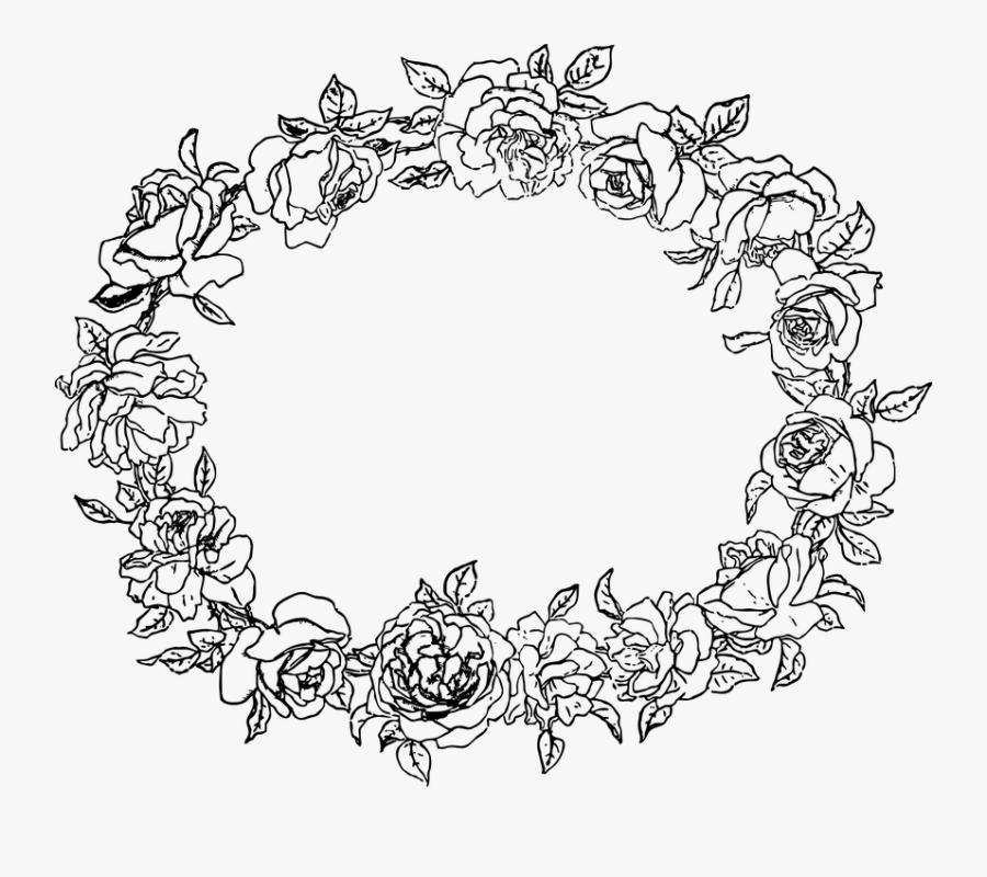 Transparent Floral Border Png - Flower Circle Line Art, Transparent Clipart