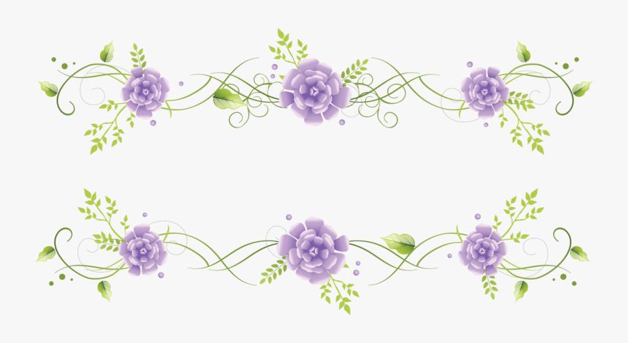 Blue Flower Border Vignette Free Clipart Hq - Purple Floral Borders Png, Transparent Clipart