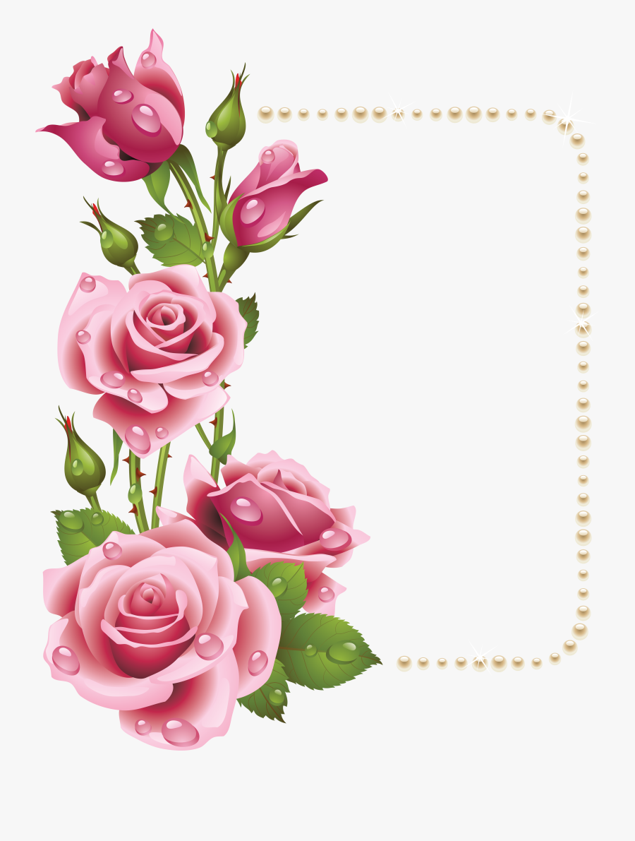 Large Transparent Frame With Pink Roses And Pearls - Frame Roses, Transparent Clipart