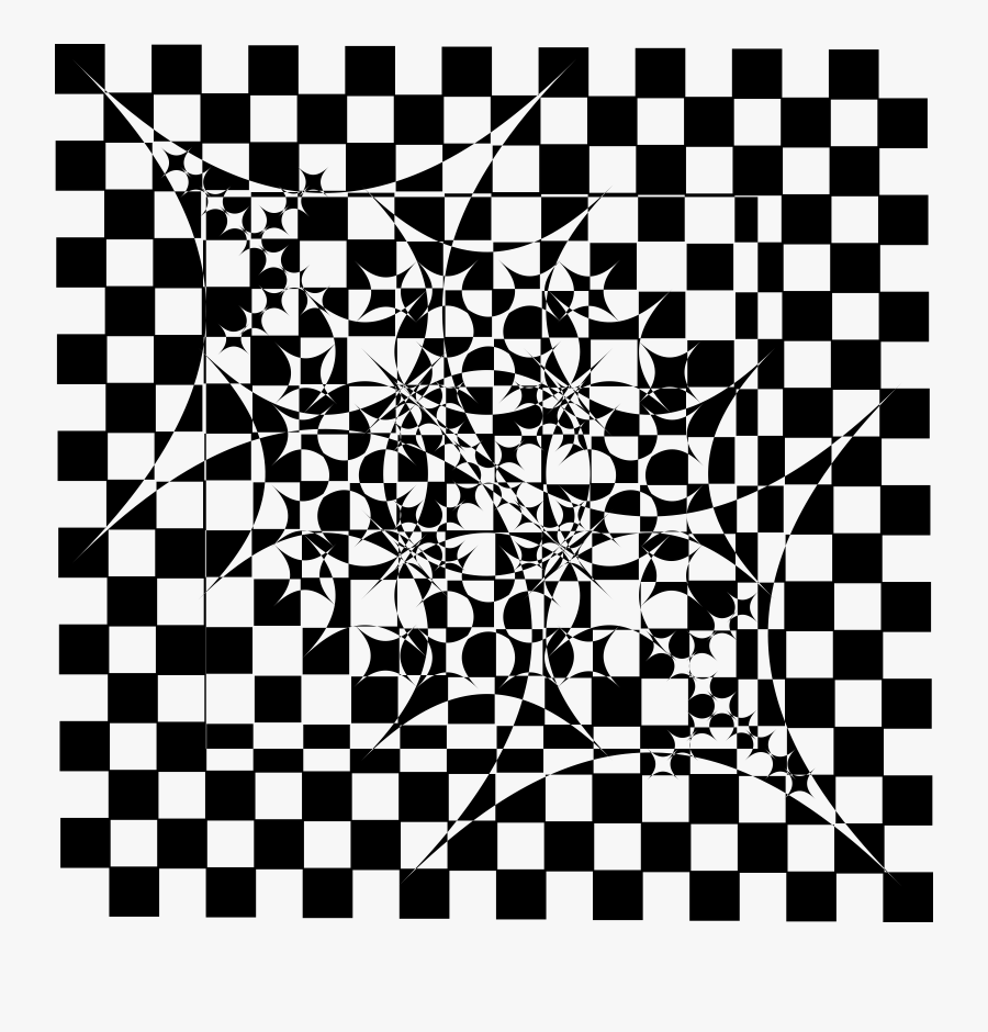 Clipart - Black And White Check Art, Transparent Clipart