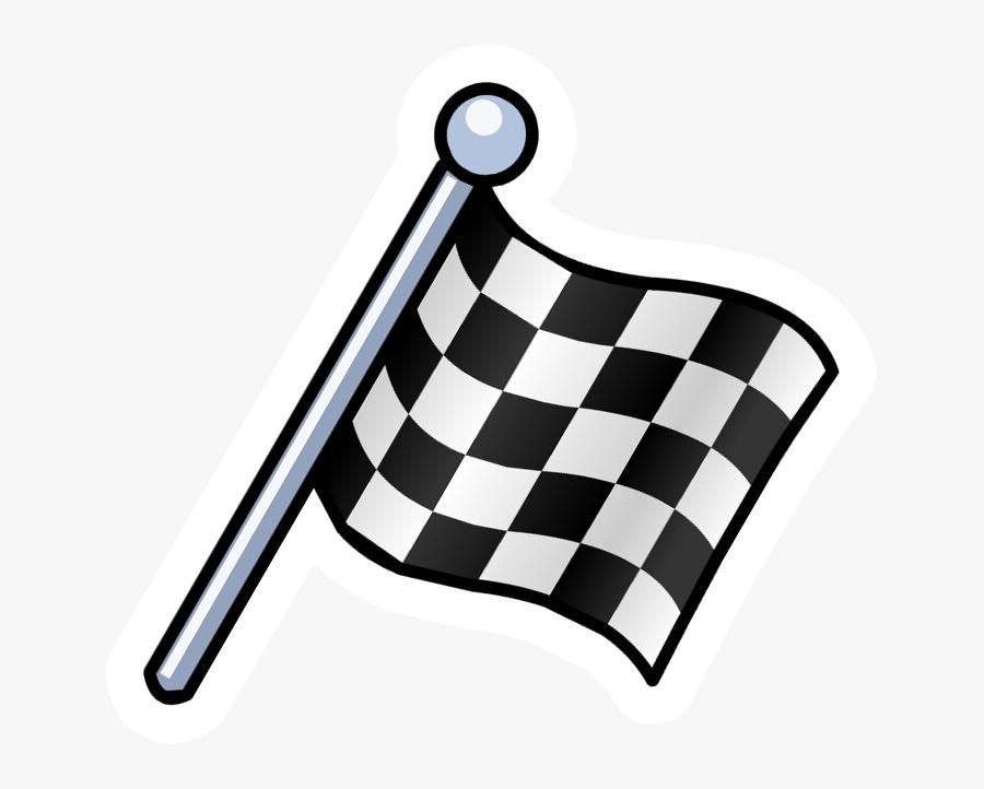 Clip Art Checkered Pin Club Penguin - Race Flag Cartoon Png, Transparent Clipart