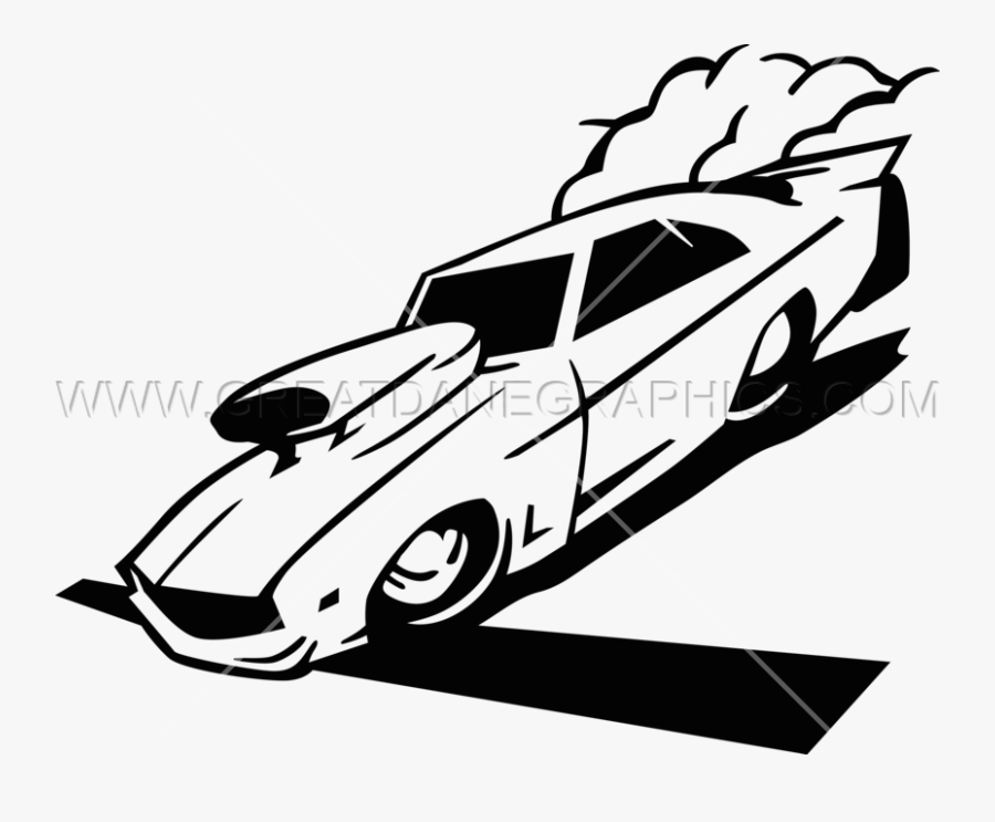 Drag Car Racing Production Ready Artwork For T Shirt - Car Racing Clipart Black And White, Transparent Clipart