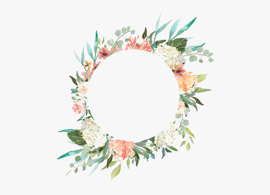 Watercolor Wreath With Flowers Png - Transparent Background Flower Wreath Png, Transparent Clipart