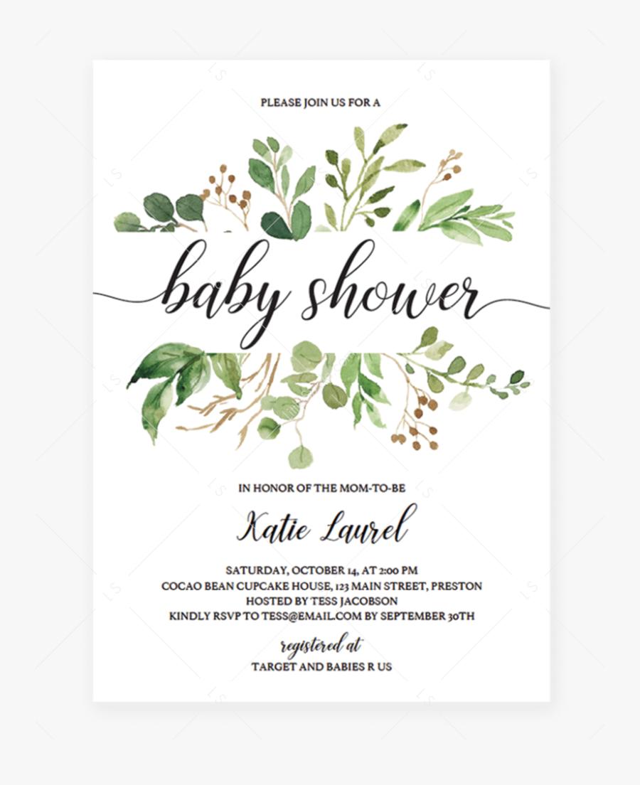 Transparent Baby Shower Invitation Clipart - Wedding Invitation Template Png, Transparent Clipart