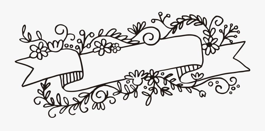 Clip Art Flower Banner Png Download - Floral Banner Black And White, Transparent Clipart