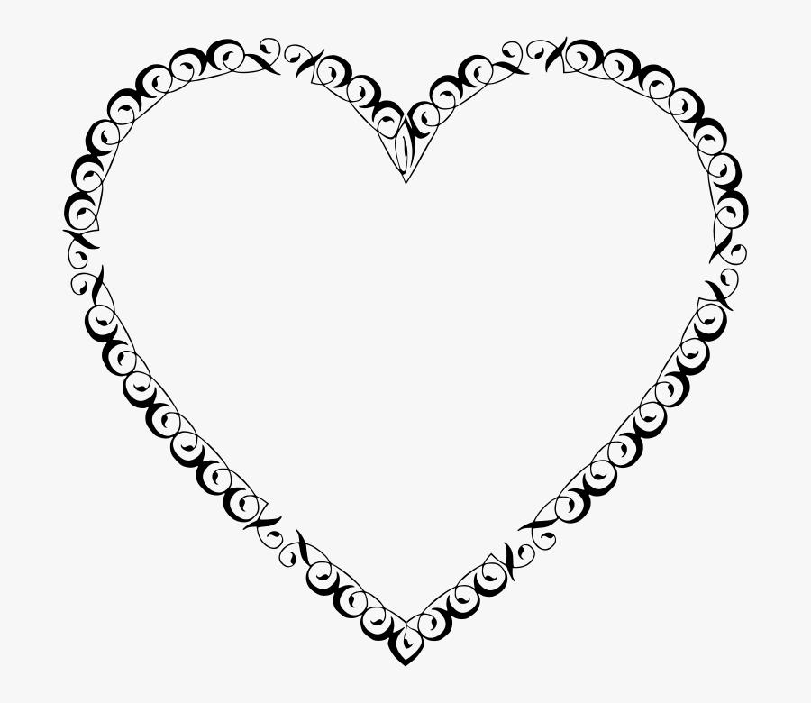 Heart Banner Black And Transparent Background - Transparent Background Heart Frame, Transparent Clipart