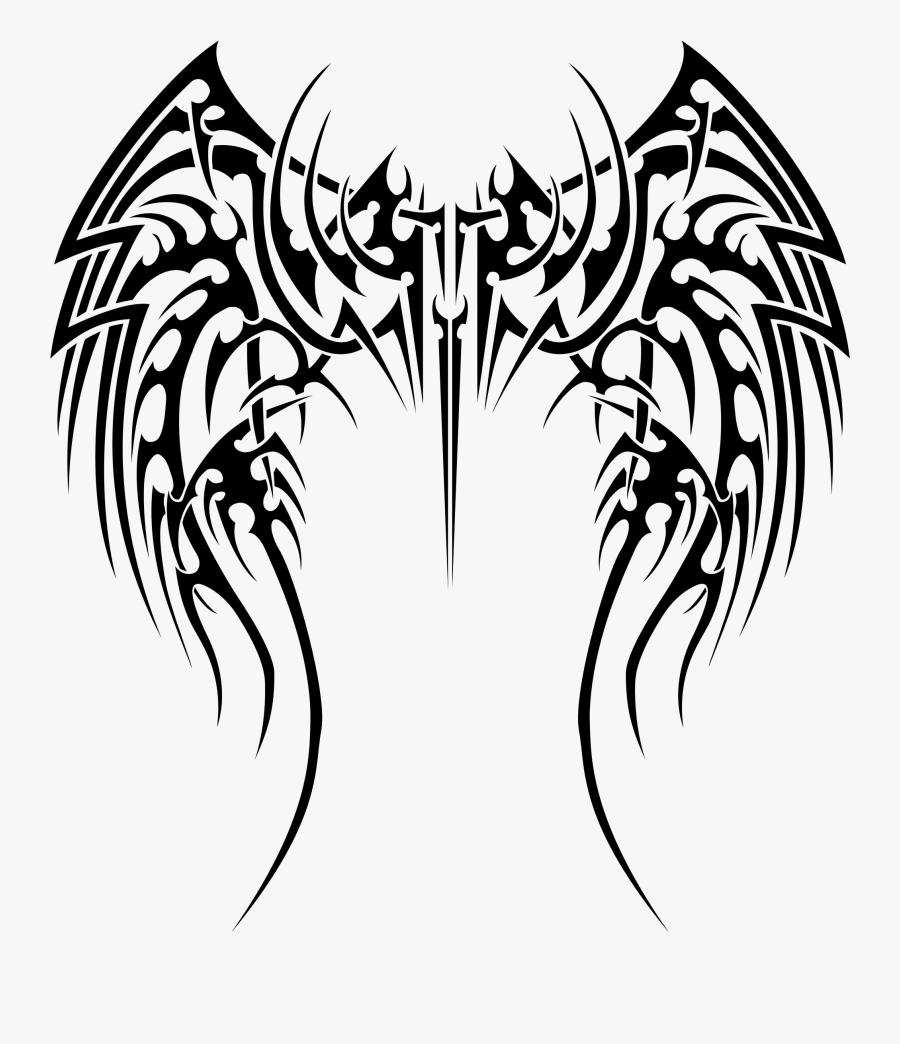 Tribal Tattoo Designs Wings - Tribal Wings Tattoo Designs, Transparent Clipart