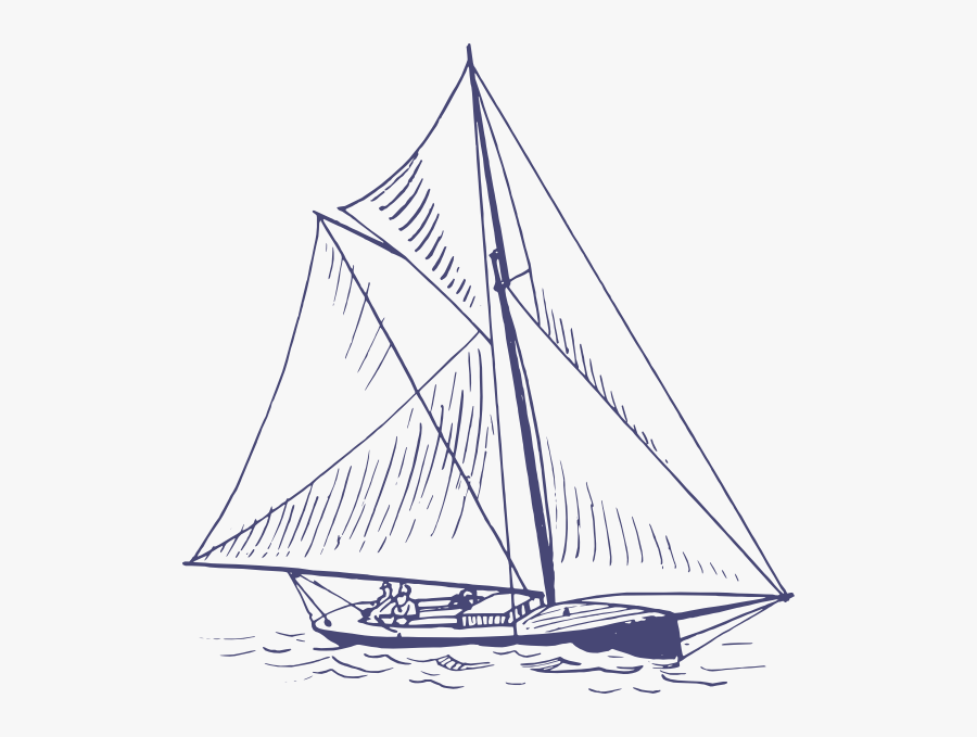 Blue Yacht Svg Clip Arts - Sailing Yacht In Graphic, Transparent Clipart