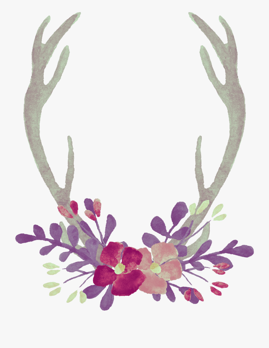 Watercolor Clipart Antlers - Mug, Transparent Clipart