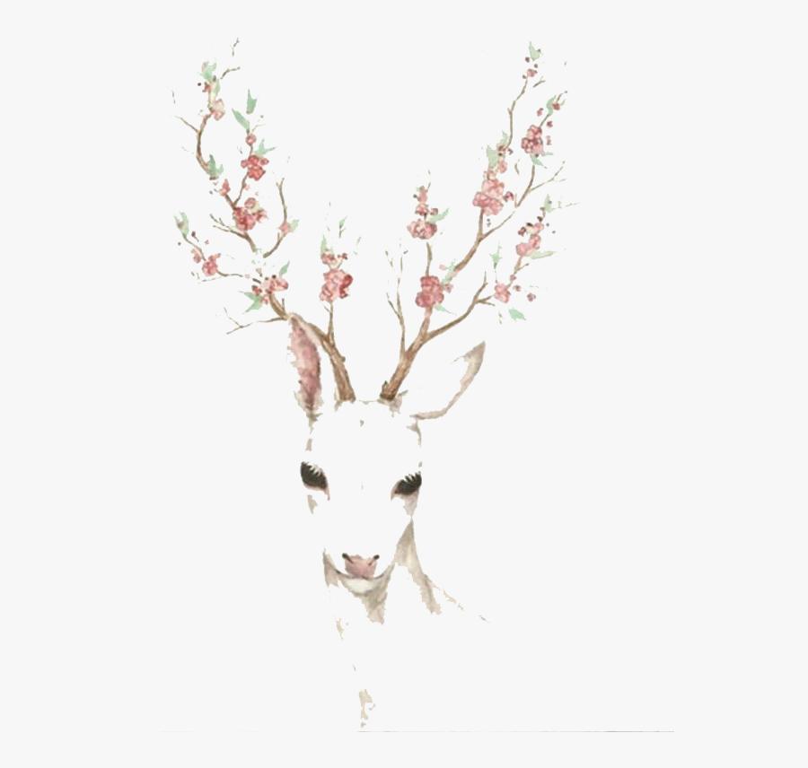 Elk Blossom Cherry Deer Watercolor Paper Antler Clipart - Watercolour Deer Png, Transparent Clipart