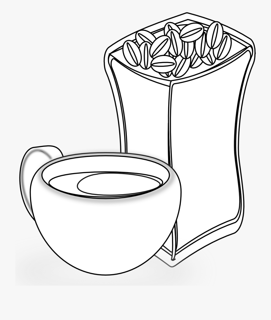 Cup Of Coffee With Sack Of Coffee Beans 5 Black White - Illustration, Transparent Clipart