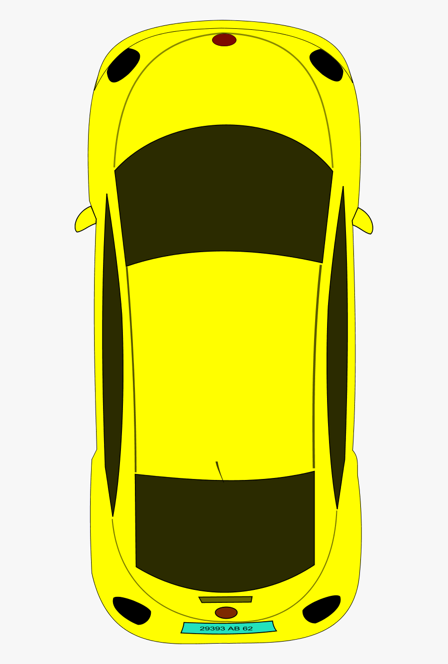 Vector Clip Art - Birds Eye View Of A Car Drawing, Transparent Clipart