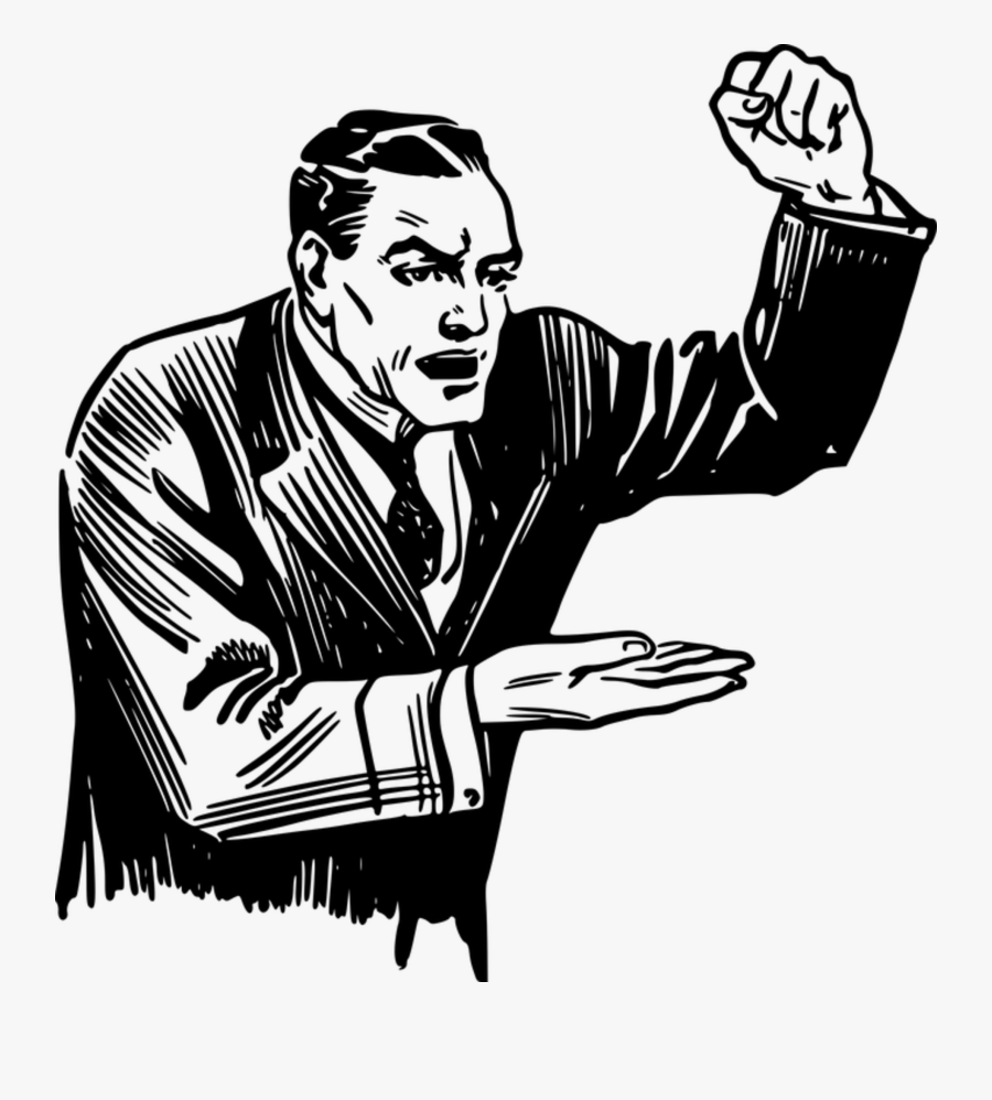 Angry, Debate, Emotion, Fist, Hand, Male, Man - Put Someone's Back Up, Transparent Clipart