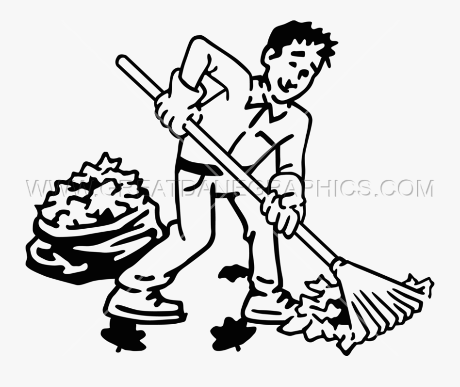 Clip Guy Raking Leaves Production Ready Artwork For- - Raking Clipart Black And White, Transparent Clipart