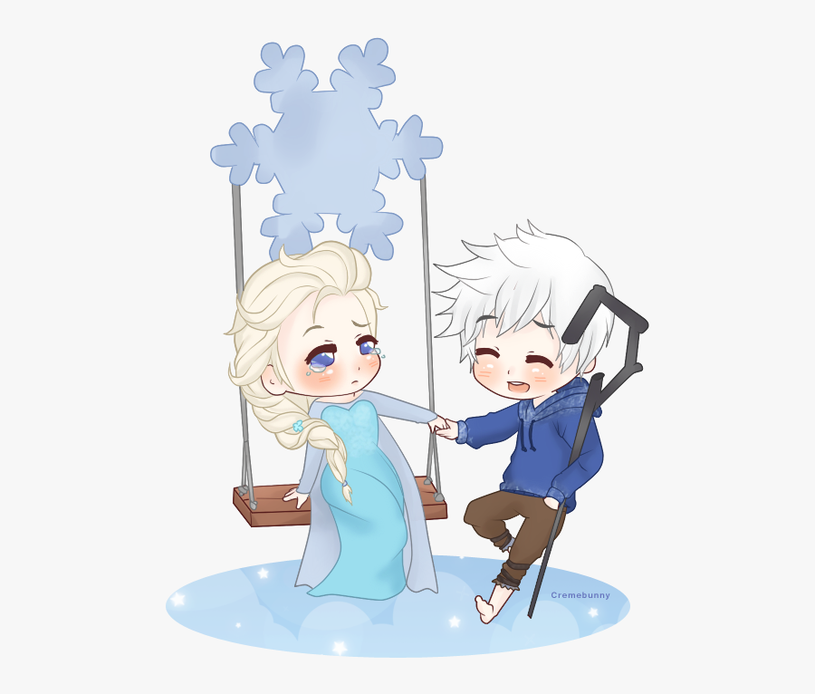 Jelsa By Cremebunny - Elsa Anime And Jack Chibi, Transparent Clipart