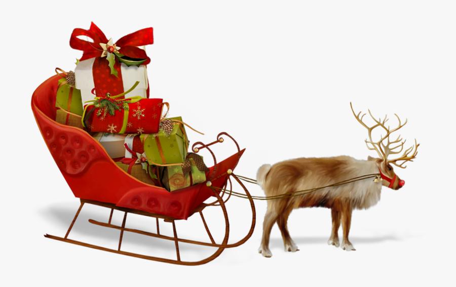 Reindeer,sled,santa Claus,deer,christmas Character,christmas,clip - Santa Claus Sleigh Png, Transparent Clipart