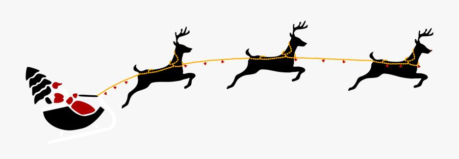 Clip Art On Graphic Transparent - Transparent Santa And Reindeers, Transparent Clipart