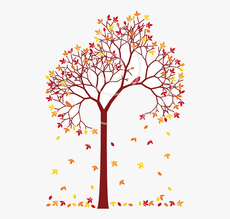 Fall Tree Colorful Leaves And Birds Dig Trees Clip - Tree With Falling Leaves Clip Art, Transparent Clipart