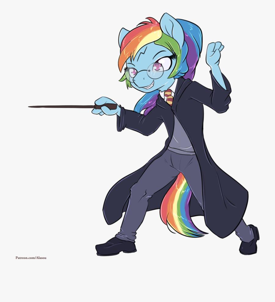 Pin Harry Potter Wand Clipart - Rainbow Dash Harry Potter, Transparent Clipart