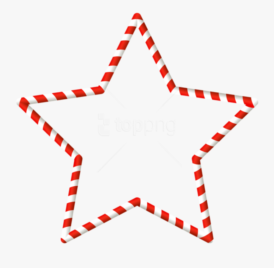 Christmas Candy Cane Star Border Png - Candy Cane Border Tag, Transparent Clipart