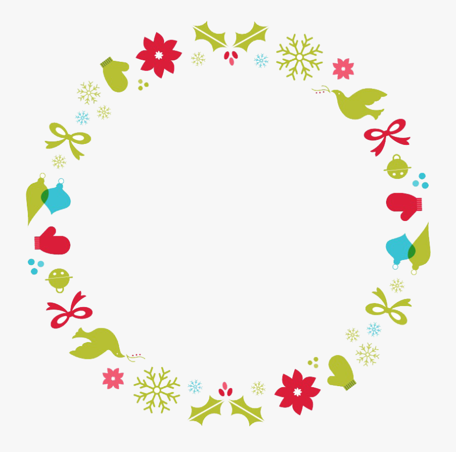 Flower Border Designs Png Free Images - Christmas Circle Frame Png, Transparent Clipart