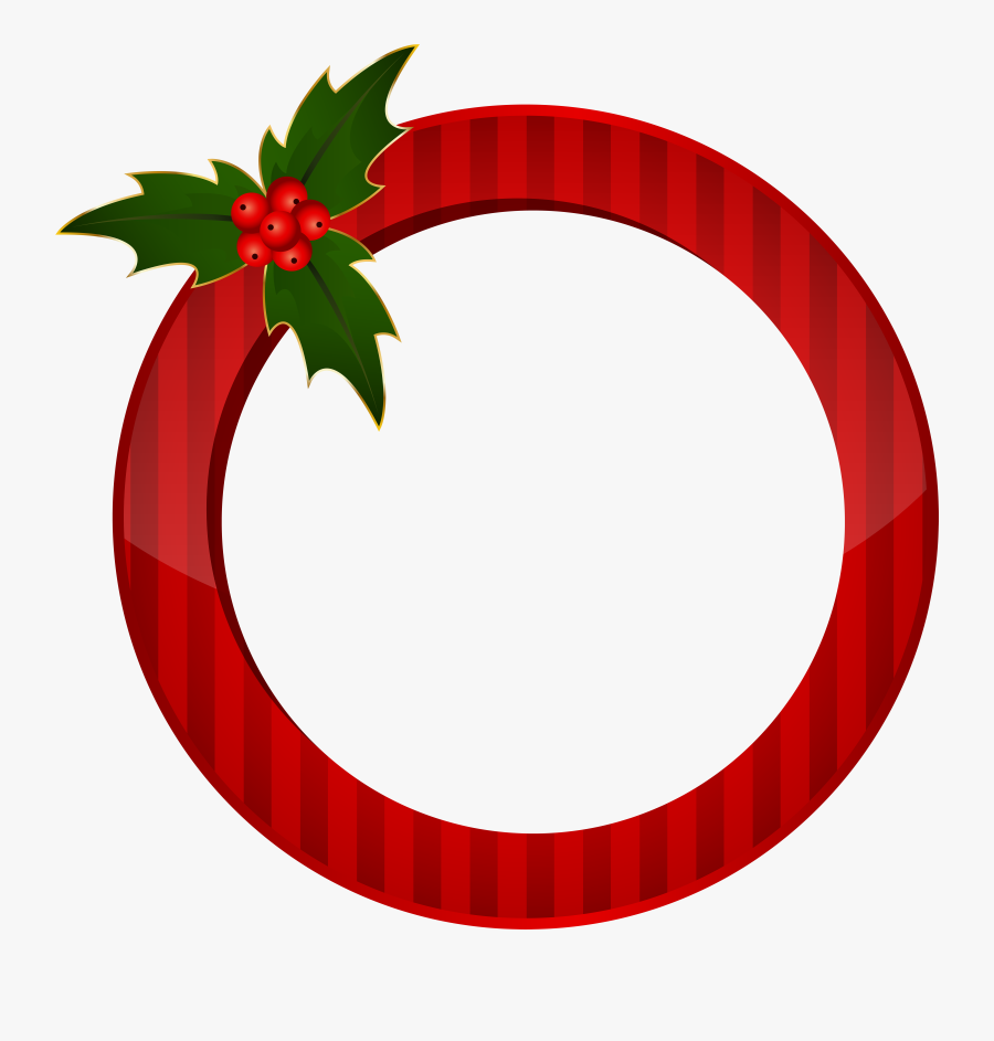 Christmas Round Red Frame Transparent Image, Transparent Clipart