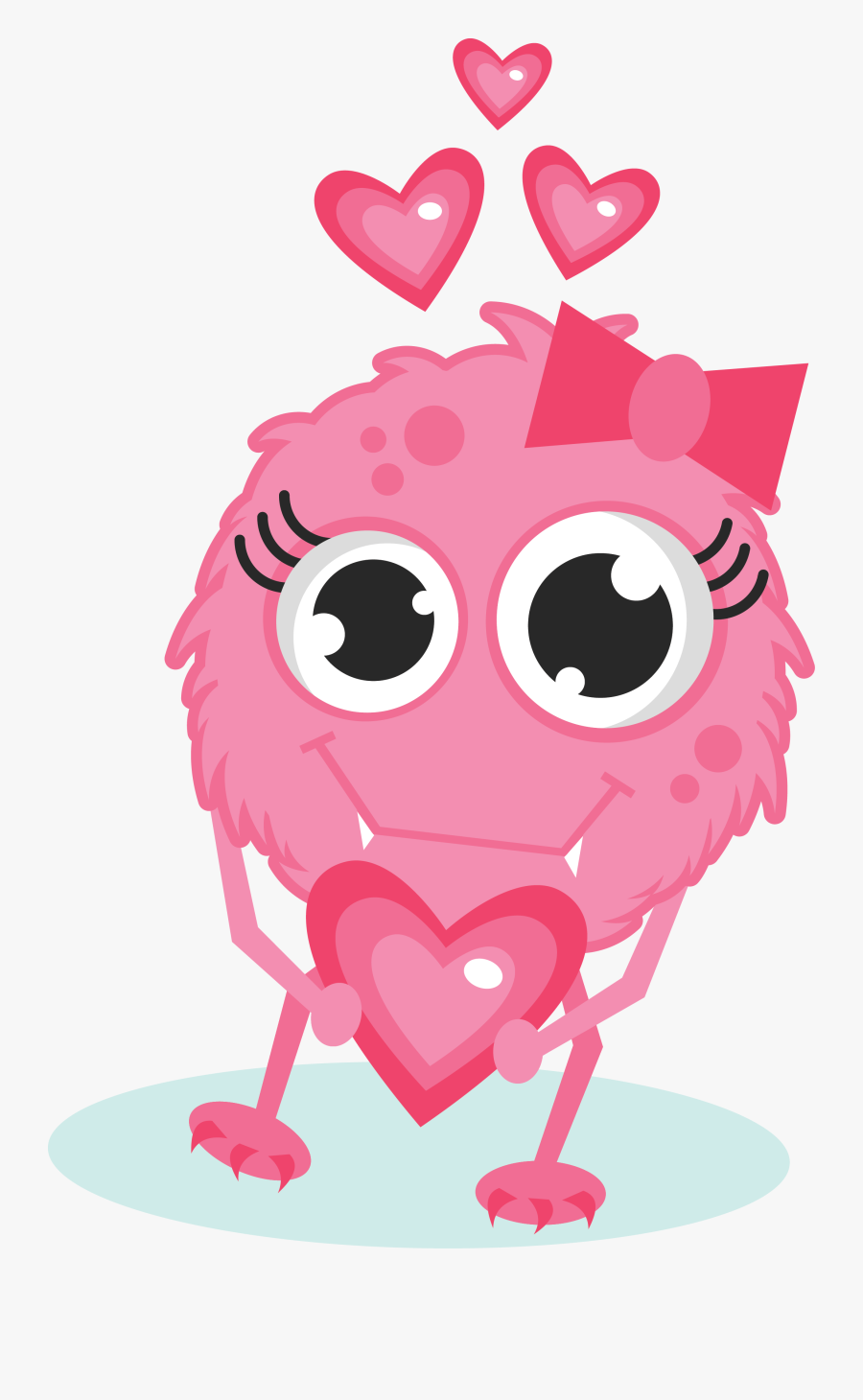 Jpg Free Stock Girl In Love Kewt - Cute Monster Valentines Day Clipart, Transparent Clipart