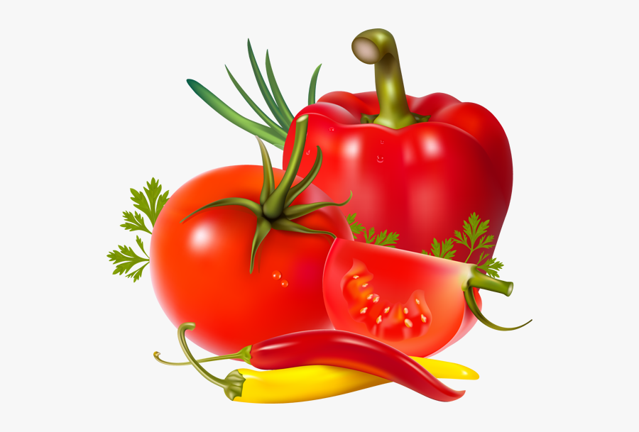 Transparent Tomato Slice Clipart - Tomatoes And Red Peppers, Transparent Clipart