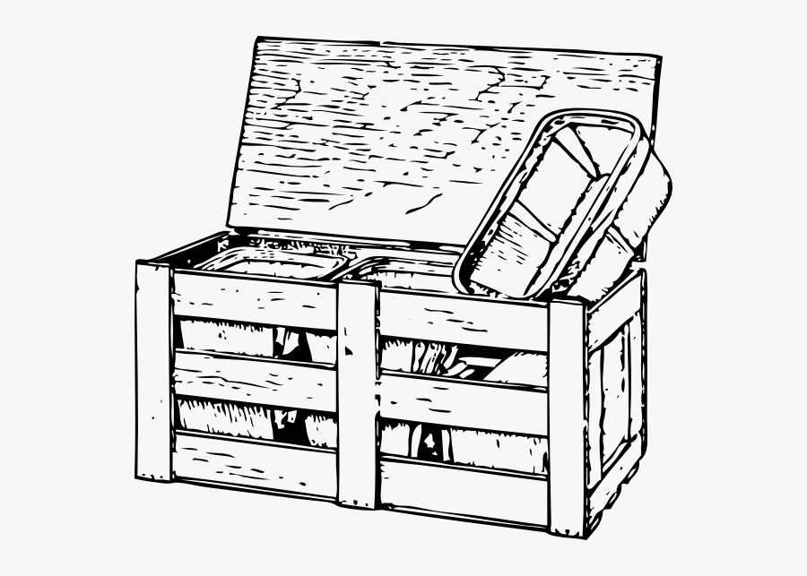 Free Vector Tomato Box Clip Art - Line Drawing Wooden Box, Transparent Clipart