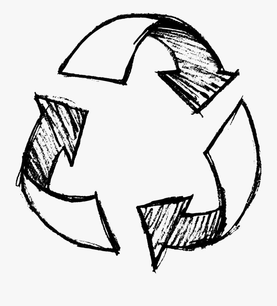 Clip Art Symbol Waste Pencil Drawn - Hand Drawn Recycle Icon, Transparent Clipart
