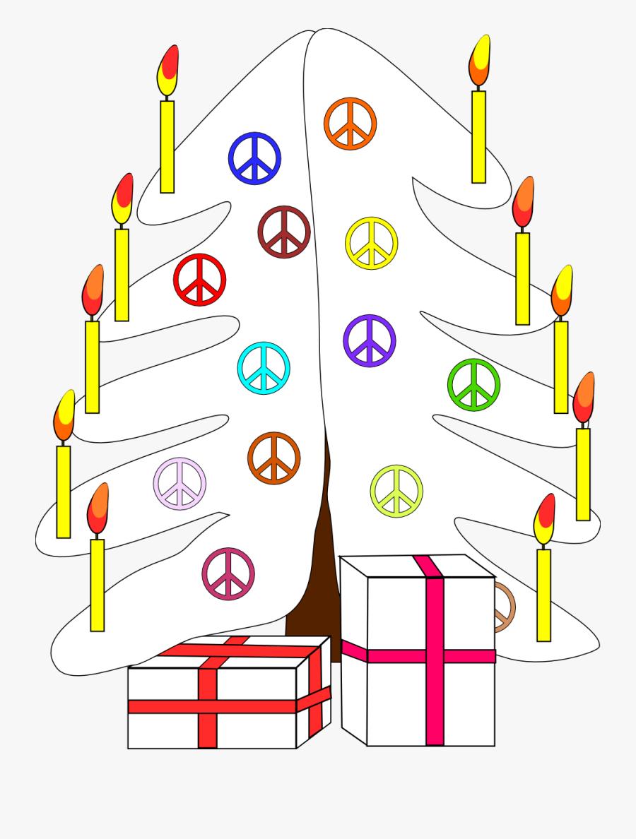 Xmas Christmas Tree Black White Peace Symbol Sign 111px - Christmas Day, Transparent Clipart