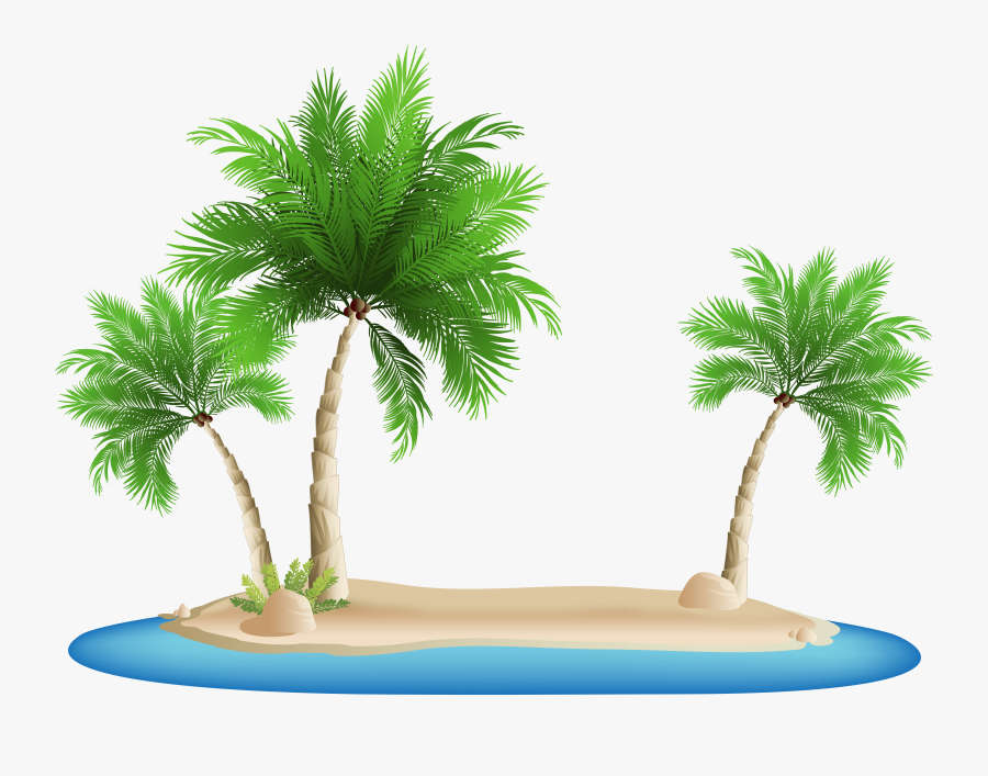 Transparent Palm Trees Clip Art - Clip Art Beach Transparent Background, Transparent Clipart