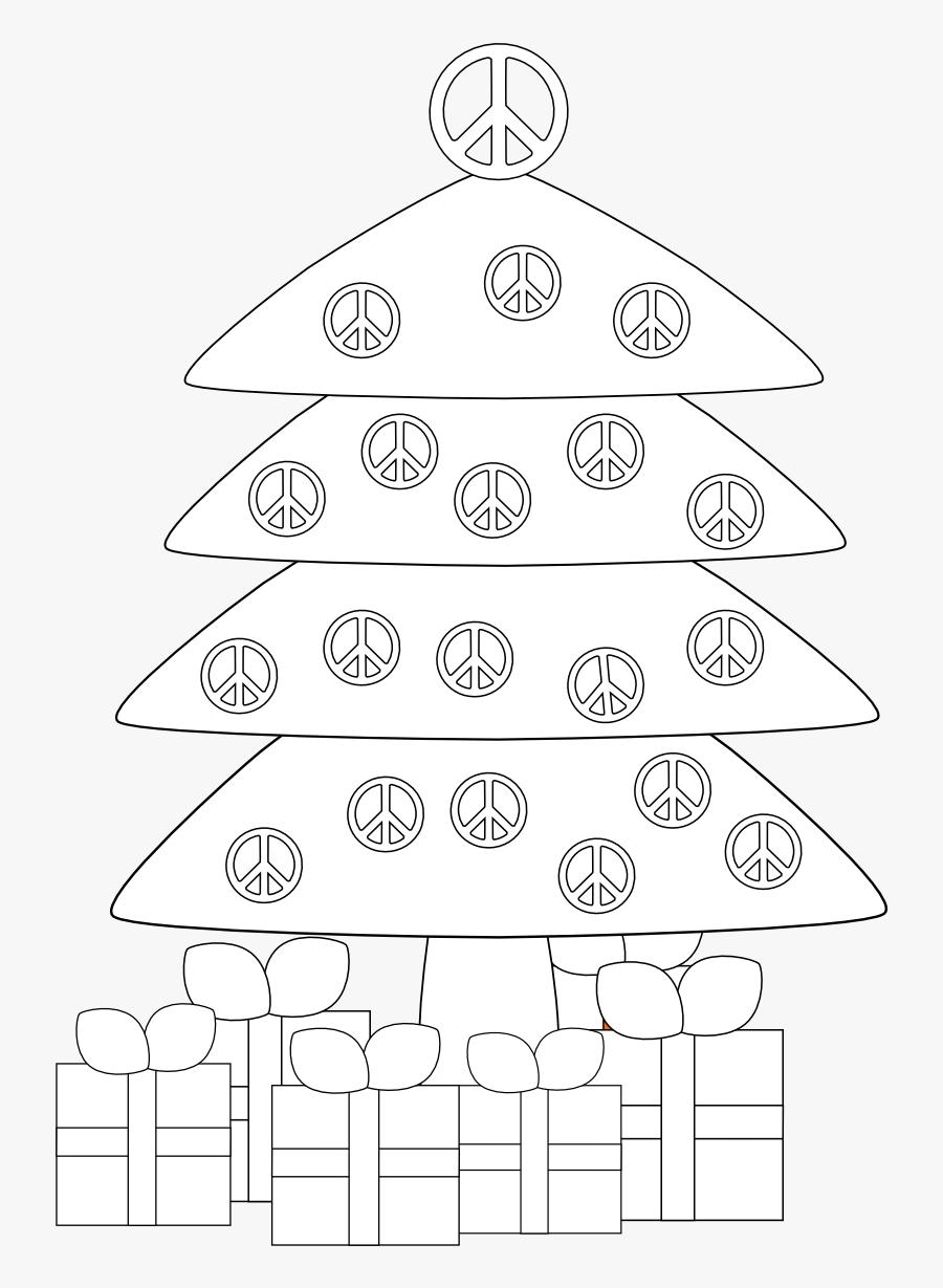 Christmas Tree Peace Sign Black White Line Art Coloring - Drapeau Peace And Love, Transparent Clipart