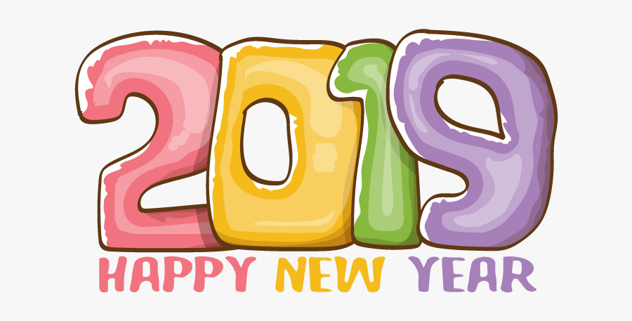 Happy New Year 2019 Vector Free Download, Transparent Clipart