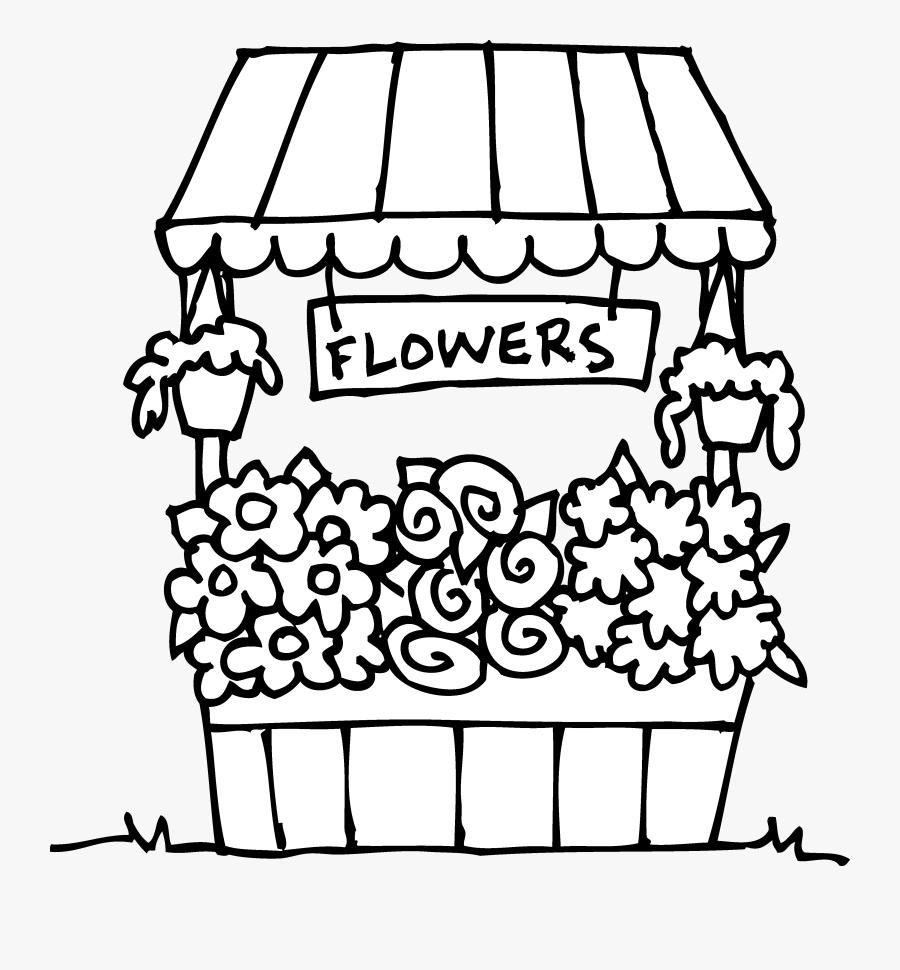 Flower Shop Clipart Black And White - Flower Shop Coloring Page, Transparent Clipart