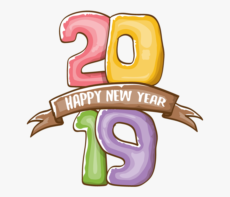 Happy New Year Poster 2019 On White Background, Transparent Clipart