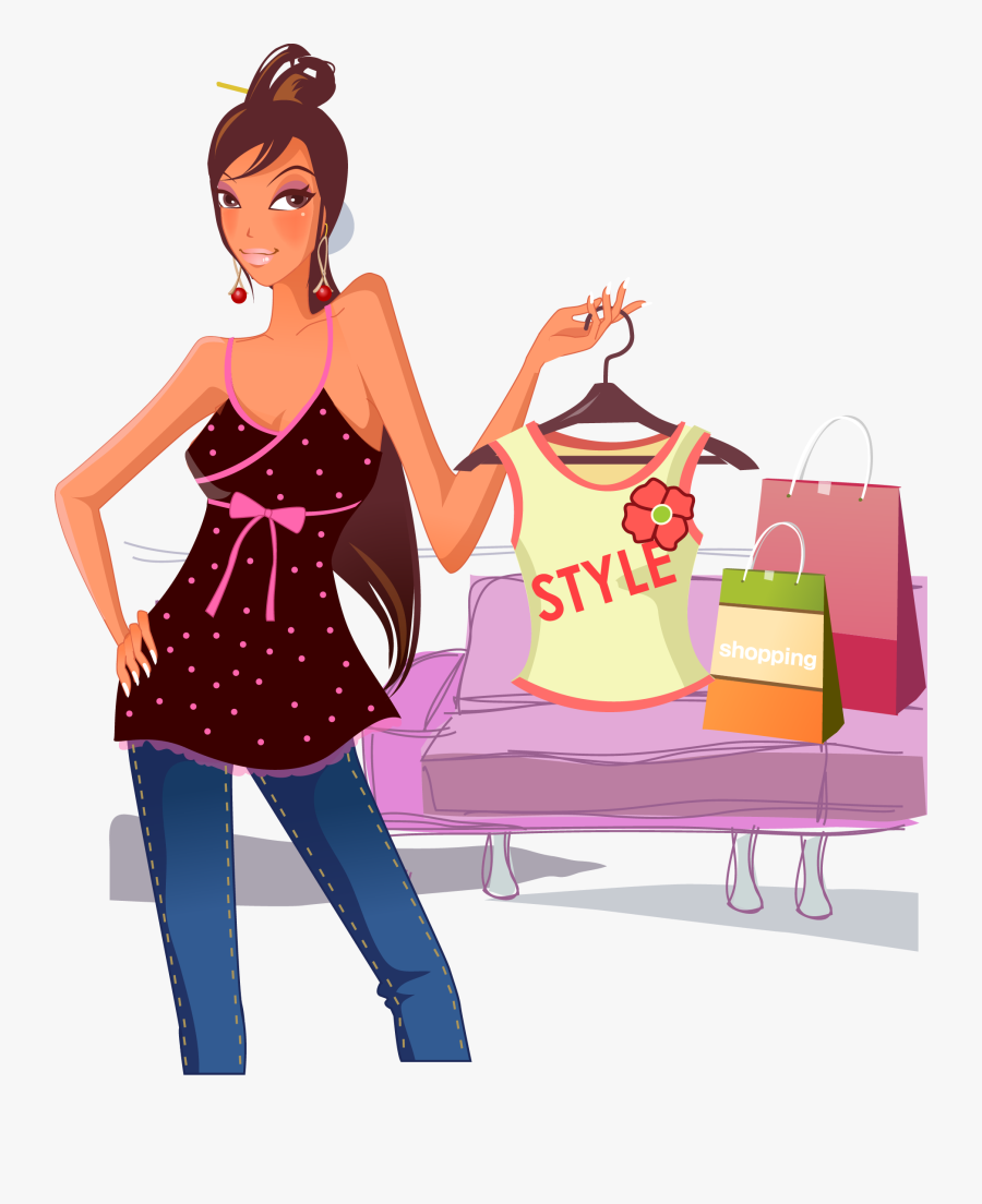 Shopping Mall Girl - Transparent Fashion Girl Clipart, Transparent Clipart