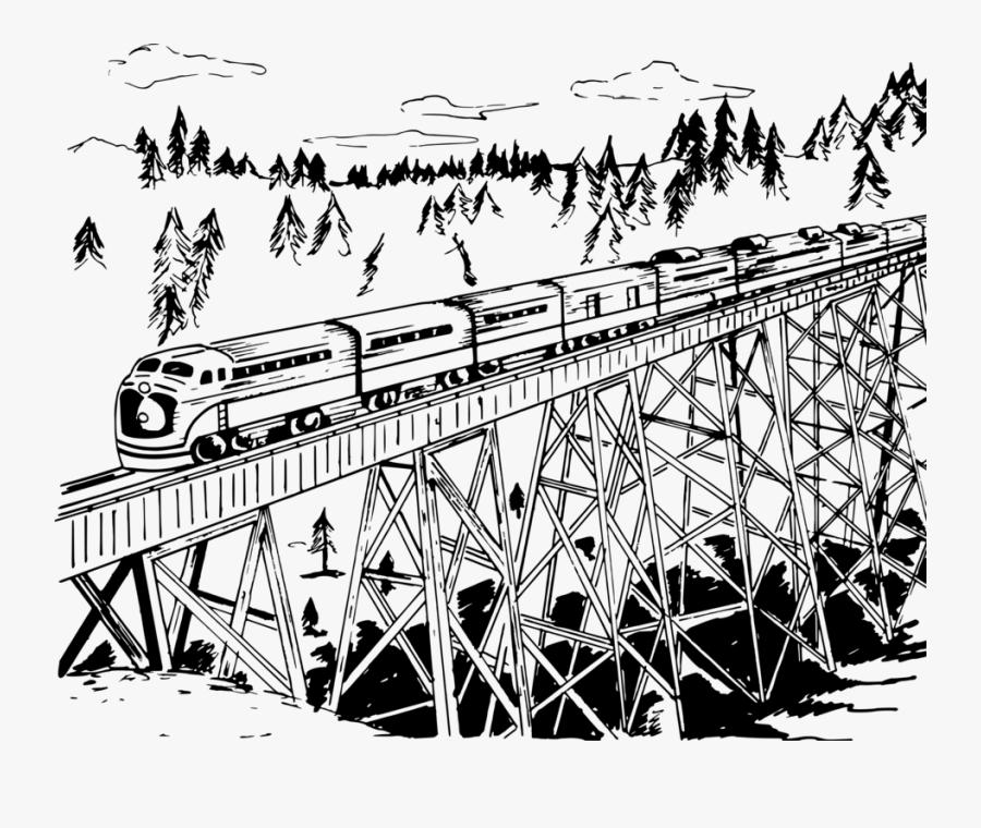Line Art Angle Art Train On Bridge Drawing Free Transparent Clipart Clipartkey
